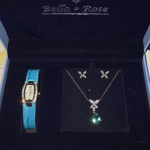 Watch, Necklace, and earring set